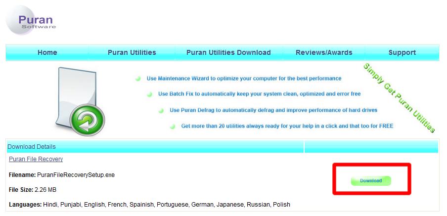 Puran File Recovery をダウンロード