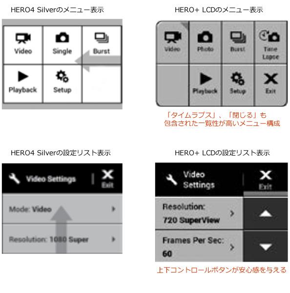 GoPro HERO+ LCD と HERO 4 SILVERをメニュー表示で比較しました