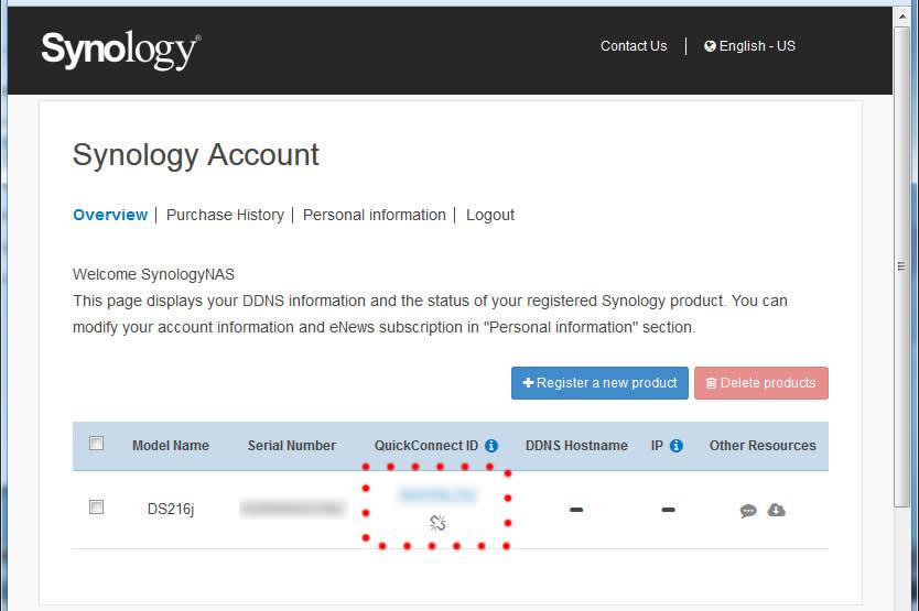 ログイン後の画面で、自宅のSynology名をクリックします。