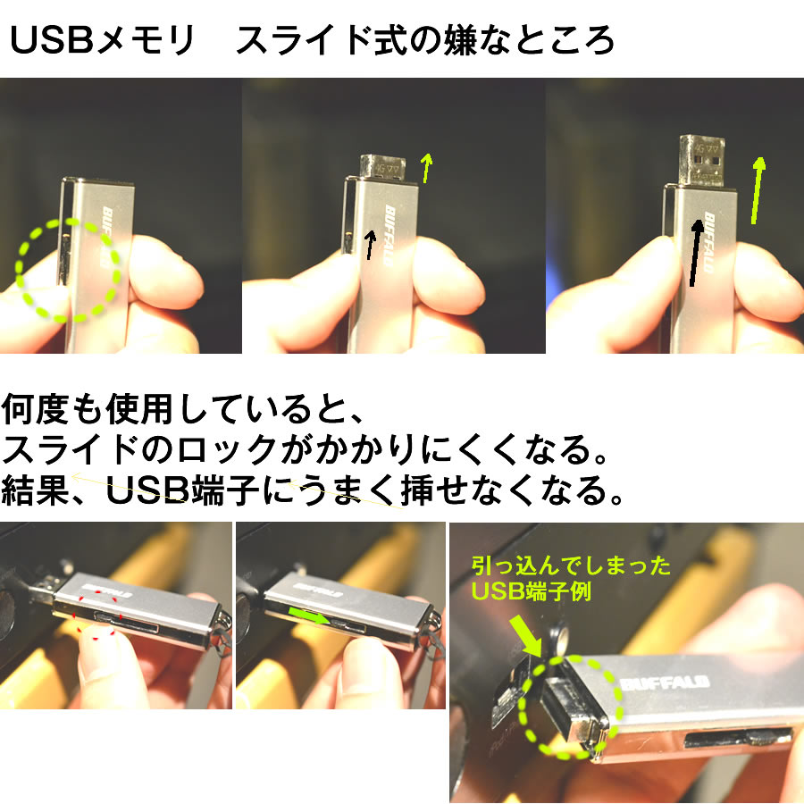 USBメモリ - スライド式の欠点。