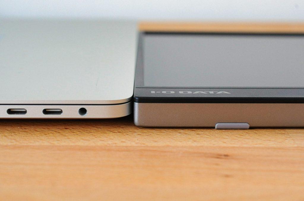 I-O DATA 15.6インチ EX-LDC161DBM モバイルモニターの薄いデザイン。